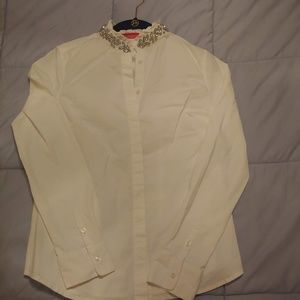 White Elle Dress Shirt with Crystal accents